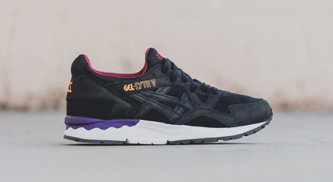 asics gel lyte v - black / burgundy