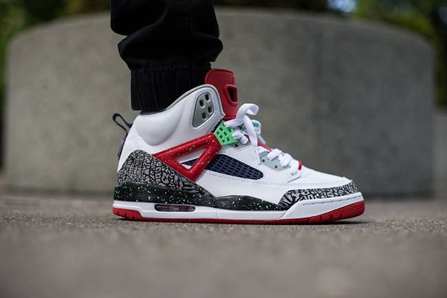 Jordan Spizike White Poison Green On Foot