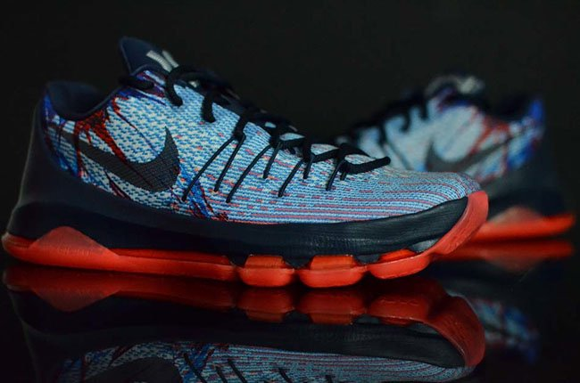 Nike KD 8 Independence Day Soar Midnight Navy Bright Crimson White