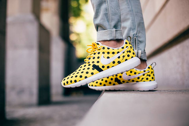 Nike Roshe Run NM Polka Dot Yellow On Feet