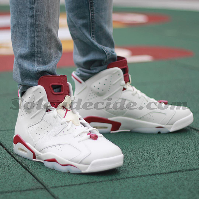 Air Jordan 6 Maroon 2015 On Feet