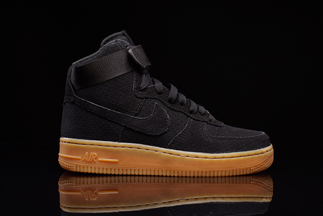 nike air force 1 black brown sole