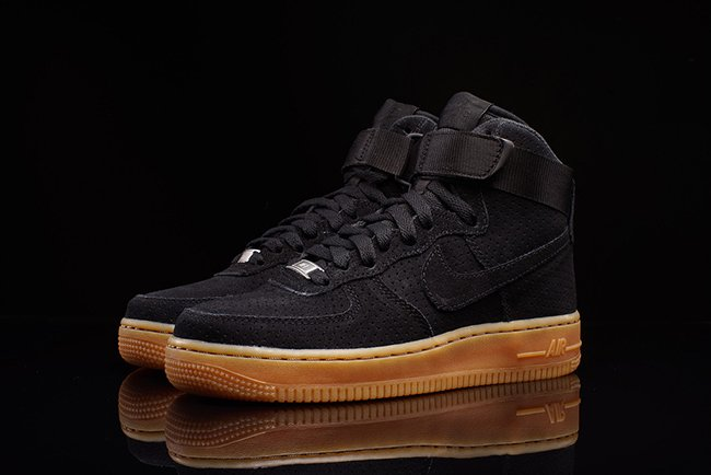 Nike Air Force 1 Daim Talon Haut Noir