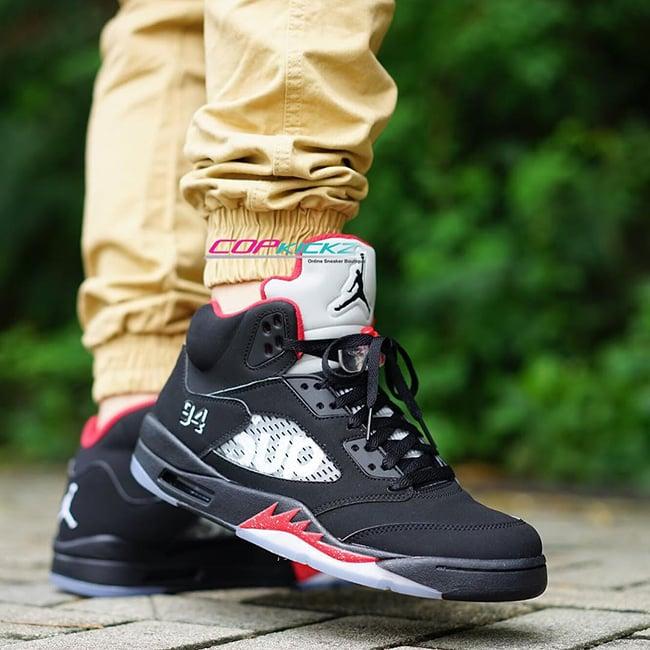Supreme Air Jordan 5 Black On Feet