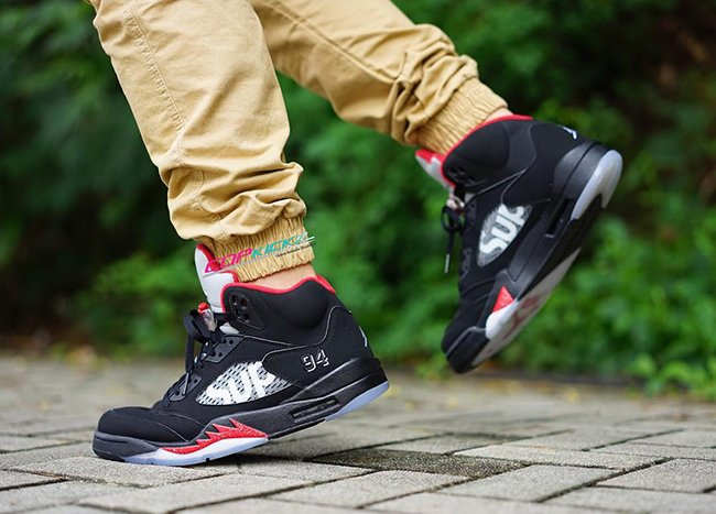 Supreme Air Jordan 5 Black On Feet