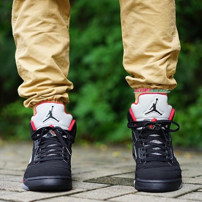 16863ef15261cc Supreme Air Jordan 5 Black Fire Red