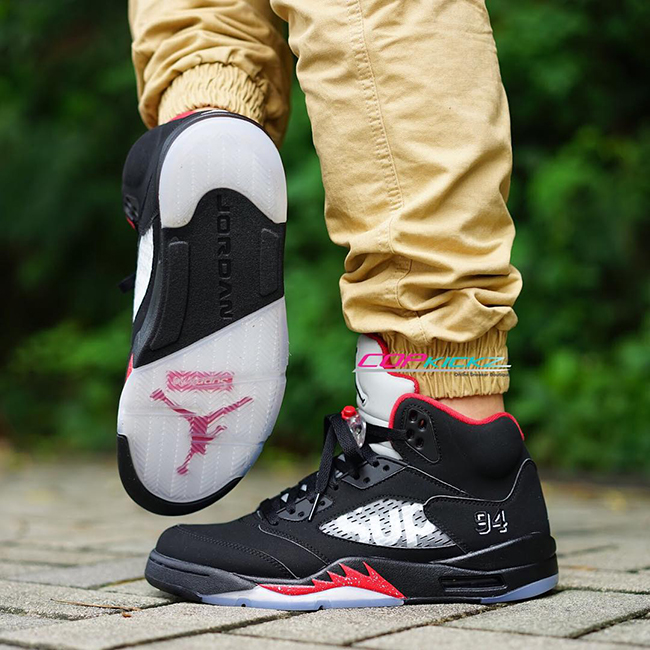 0bd46bc5d0f Supreme Air Jordan 5 Black Fire Red | SneakerFiles