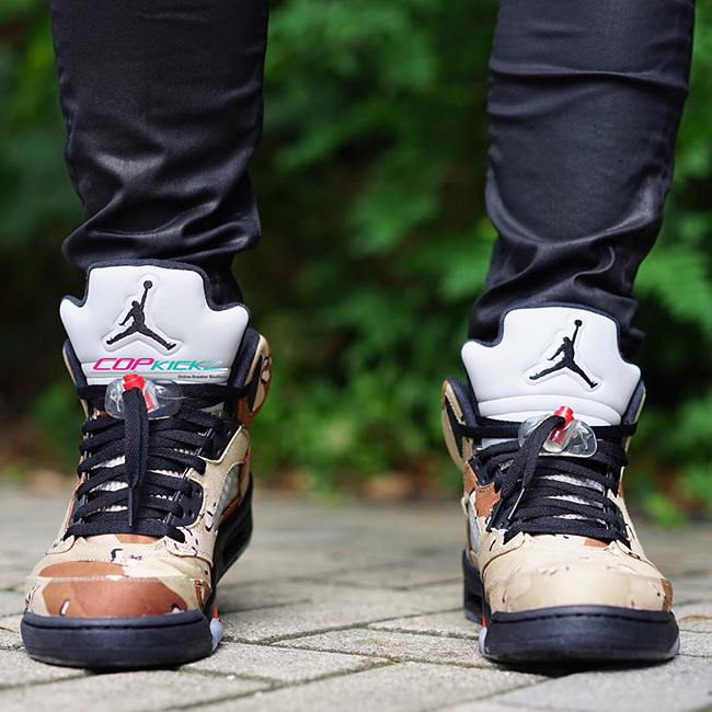 cd6781d3c58 Supreme Air Jordan 5 Desert Camo On Feet