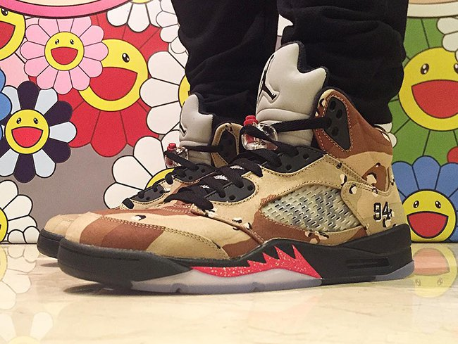 Supreme Air Jordan 5 Desert Camo On Feet