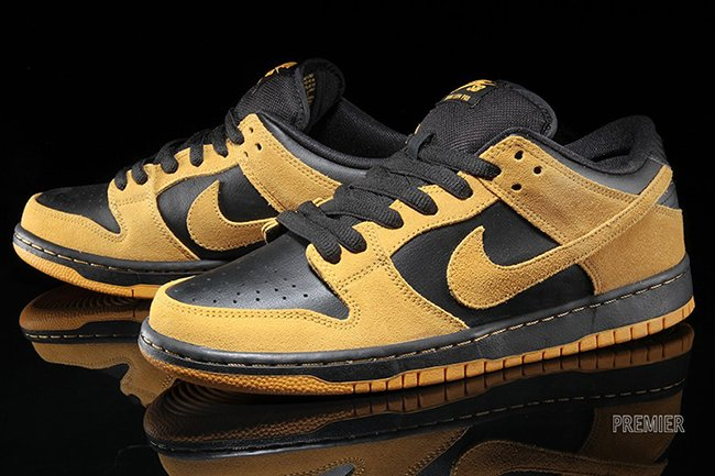 info for 69836 54855 Nike SB Dunk Low University Gold Black Available cheap