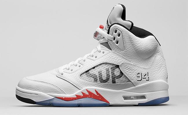 Supreme x Air Jordan 5 White