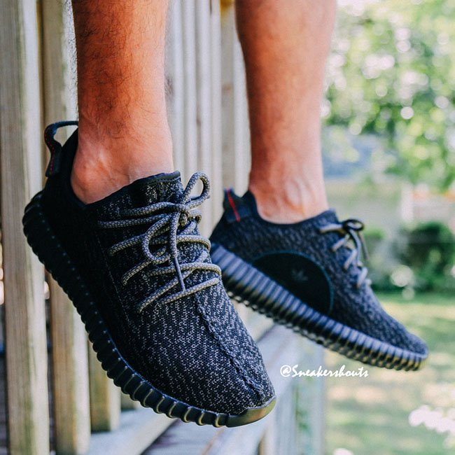 adidas Yeezy 350 Boost Black On Feet