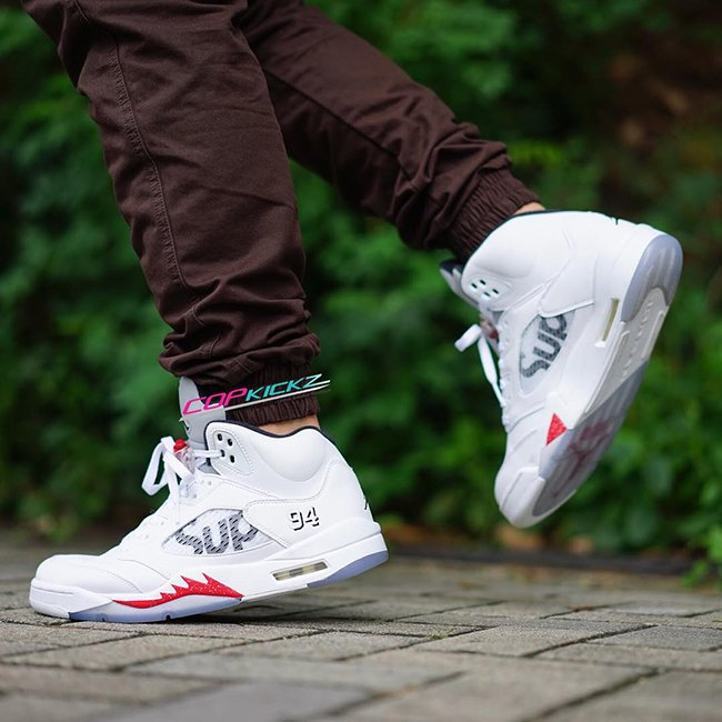 Supreme Air Jordan 5 White On Feet