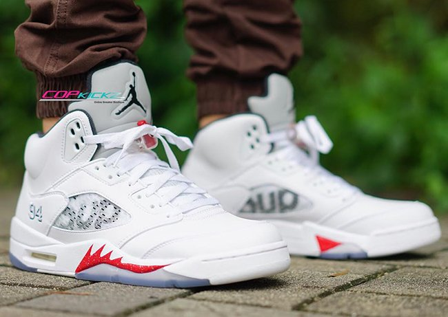 Supreme Air Jordan 5 White Sneakerfiles