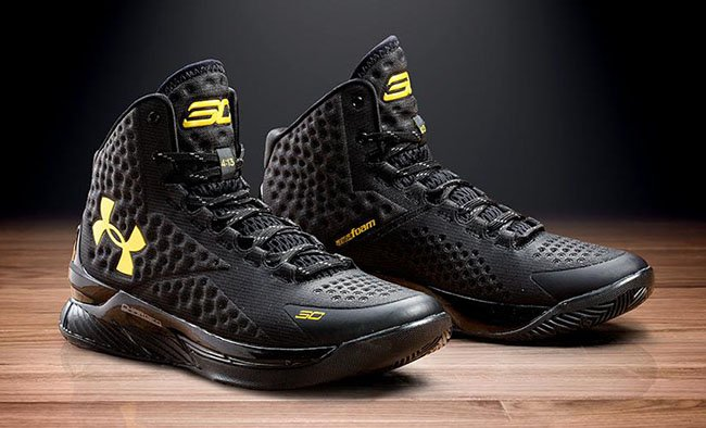 delicate Under Armour Curry 1 Black Gold Banner Official Images ... 304698ece