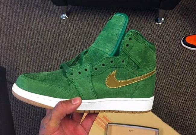Air Jordan 1 Green Croc Suede