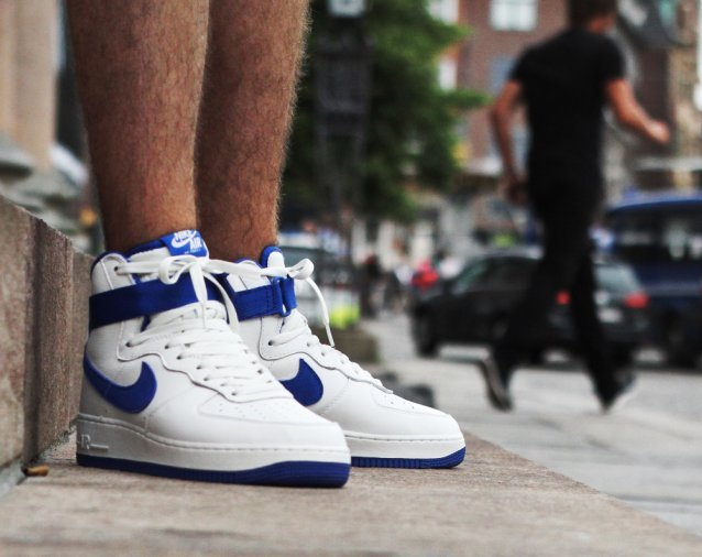 Nike Air Force 1 High OG Royal Blue On Feet