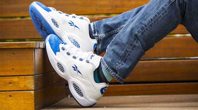 Reebok Question Low Blue Toe On Feet