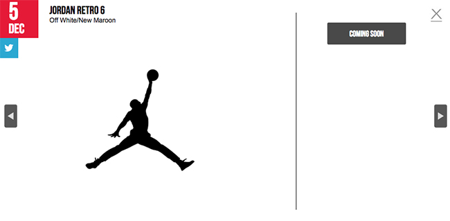 Air Jordan 6 Maroon Release Calendar