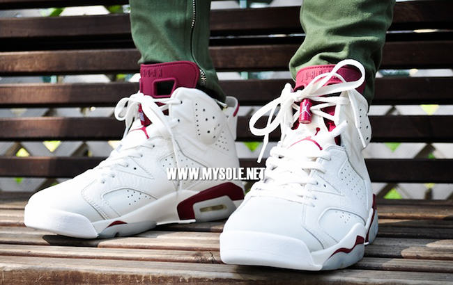 2015 Nike Air Jordan 6 Retro Maroon On Feet