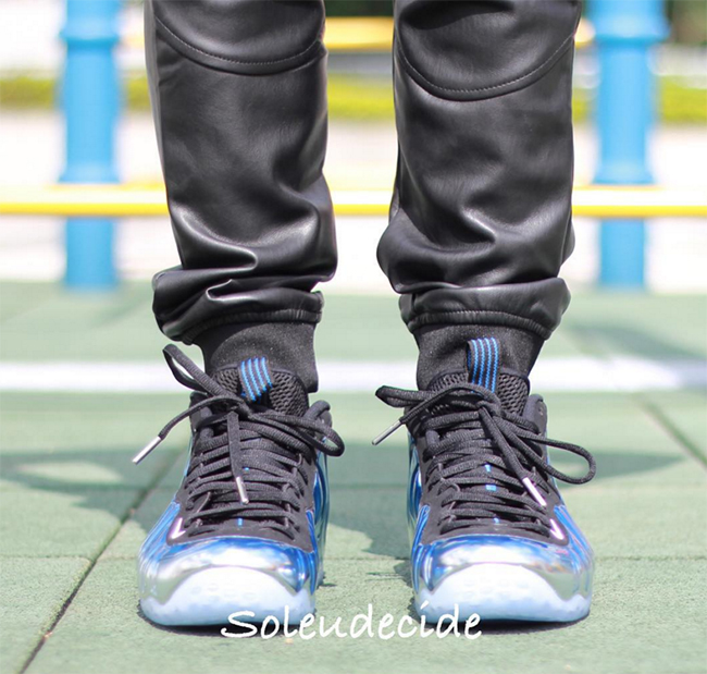 Nike Air Foamposite One Blue Mirror On Feet
