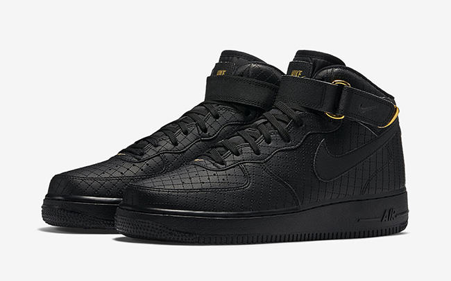 nike air force 1 mid 07 basketball shoes black&white gold