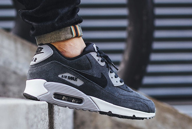 Nike Air Max 90 Leather Anthracite Black Wolf Grey