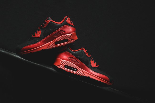 af1832ac97727 Nike Air Max 90 Winter Premium Gym Red Black | SneakerFiles