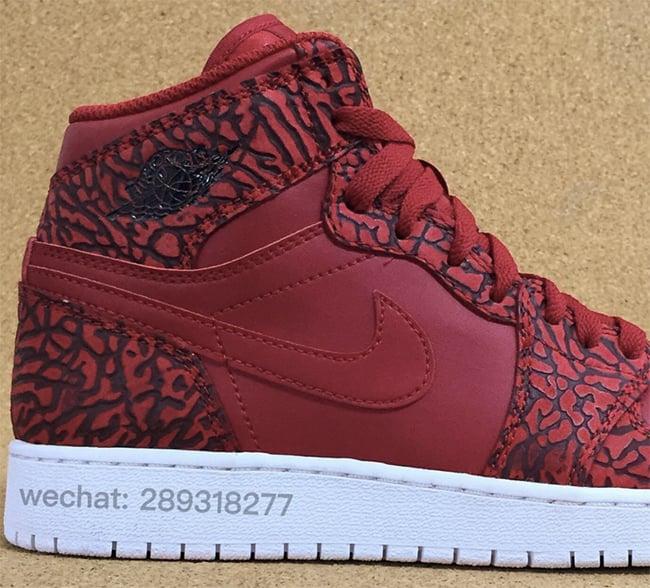 info for a5fd8 8624c Air Jordan 1 Red Elephant Print