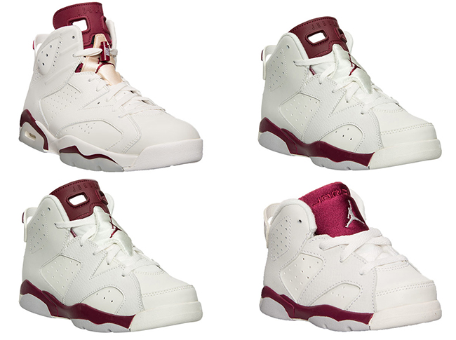 Air Jordan 6 Maroon Family Sizes