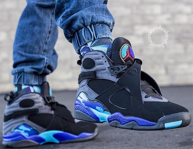 Air Jordan 8 Aqua 2015 On Feet