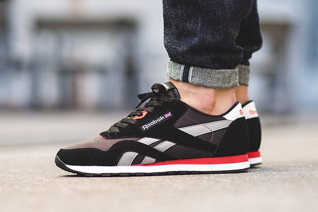 Reebok Classic Nylon Black Red Grey