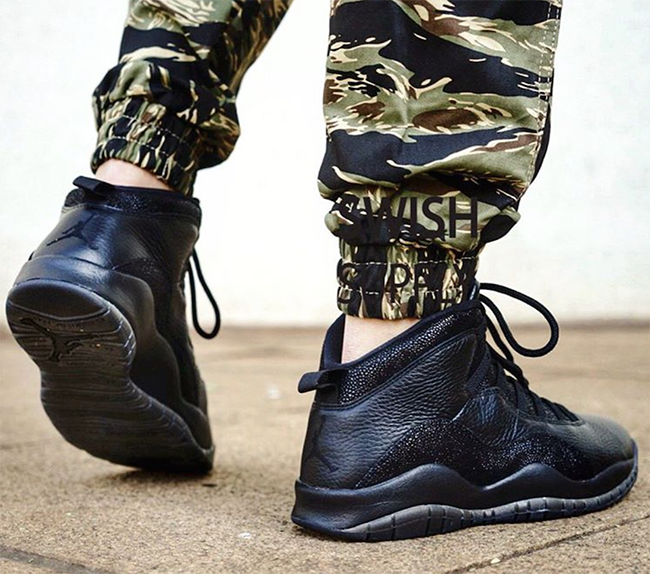 Air Jordan 10 OVO Black On Feet
