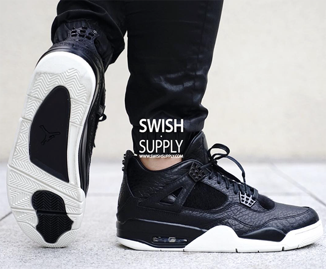 Air Jordan 4 Premium Black On Feet