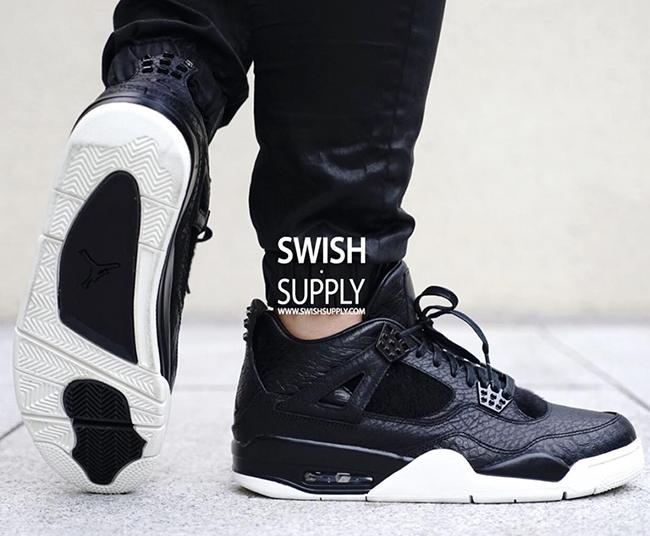 Air Jordan 4 Premium Black On Feet