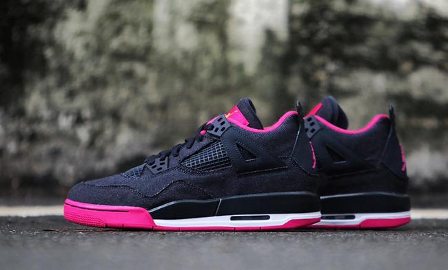 Girls Air Jordan 4 Denim Black Pink