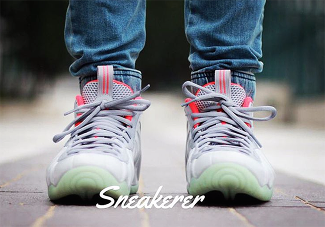 Pure Platinum Nike Foamposite Pro On Feet