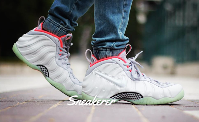 Pure Platinum Nike Foamposite Pro On Feet