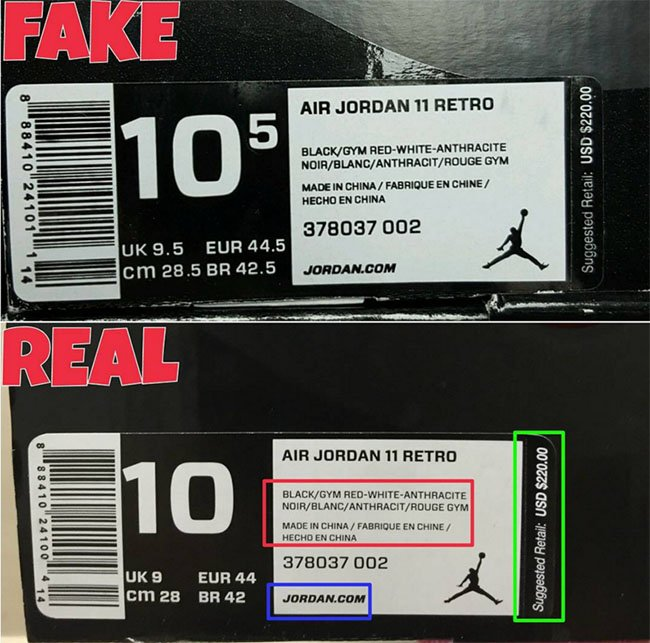 Real Fake Air Jordan 11 72 10 Box