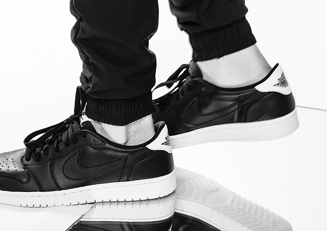 Air Jordan 1 Black White Cyber Monday On Feet