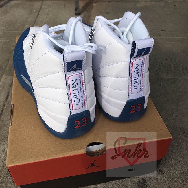 Air Jordan 12 Retro White French Blue Varsity Red shoes