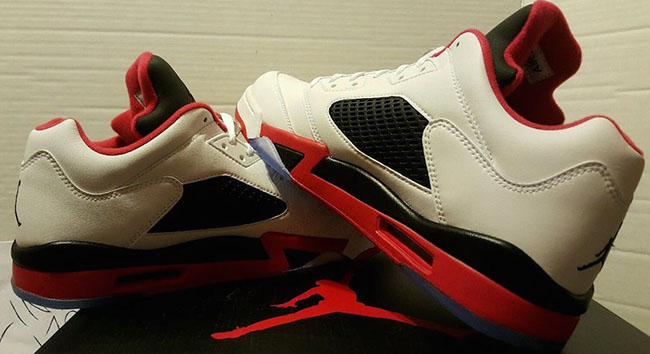 Air Jordan 5 Low Fire Red White Black