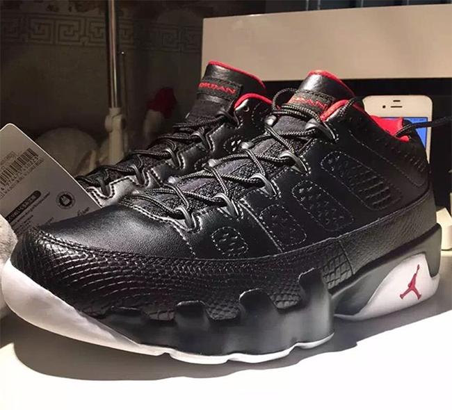 Air Jordan 9 Low Black White Red 2016