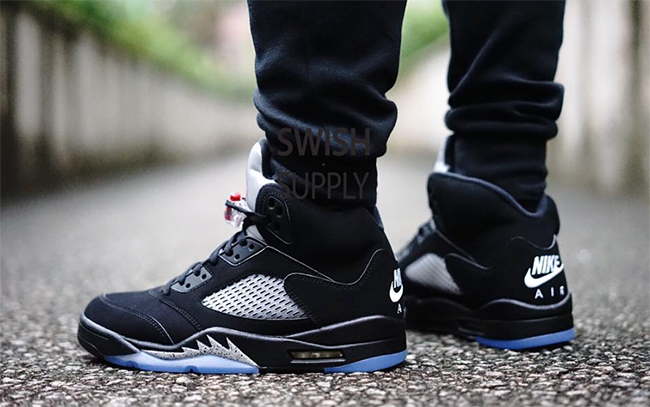 Nike Air Jordan 5 OG Black Metallic On Feet