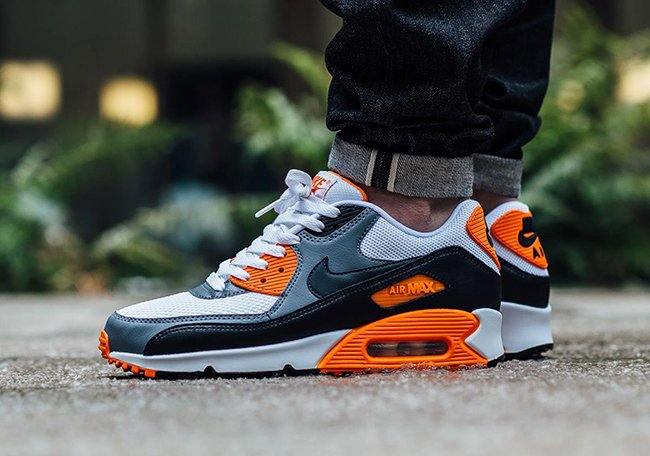 nike air max 90 white grey orange