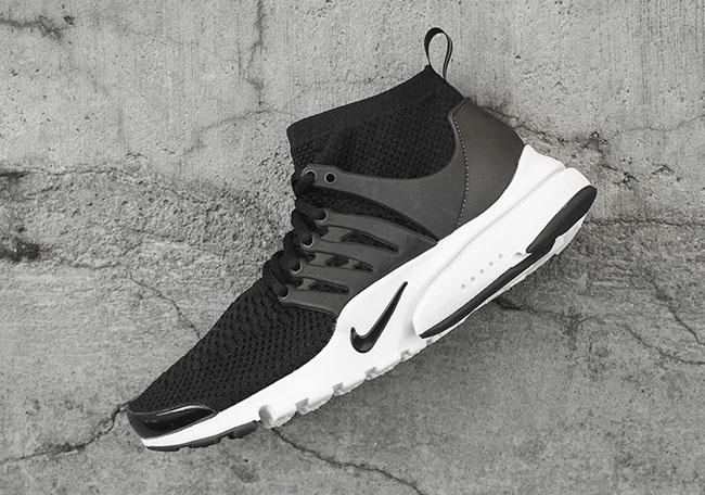 Nike Flyknit Presto Mid Black White