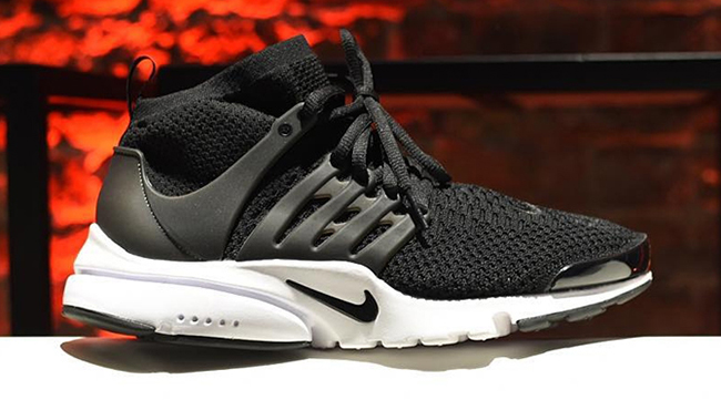 nike flyknit air presto mid black white sneakerfiles. Black Bedroom Furniture Sets. Home Design Ideas