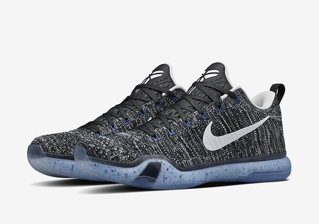 brand new 802c4 7a09a Nike Kobe 10 Elite Low HTM Black White Blue