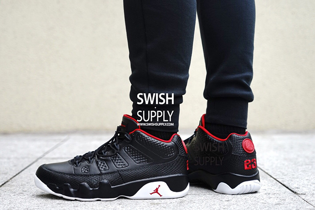On Feet Air Jordan 9 Low Black Red White