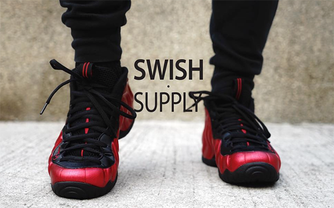 On Feet Nike Foamposite Pro Red Black